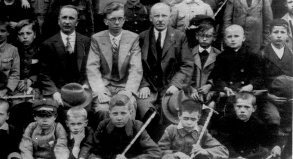 Karol Wojtyla, second from right in second row from front, and his schoolmates, his teachers and his father &#40;man at center wearing overcoat&#41; is shown during a trip to Wieliczka, near his hometown of Wadowice, Poland in an undated photo. Wadowice was where Karol, who became Pope John Paul II, was born.  <span class=meta>(AP)</span>